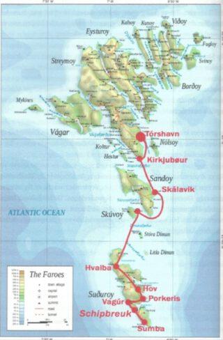 Tocht van de schipbreukelingen over land en zee naar de hoofdstad Torshavn - Uit het boek Westerbeek 1742 – blz.60