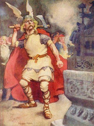 Moderne verbeelding: Ólafr Tryggvason verspreidt het geloof en vernietig afgodsbeelden