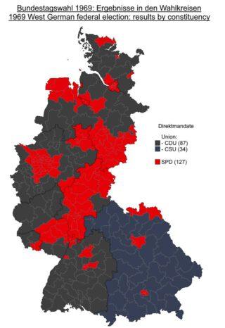 Stemmenverhouding CDU/CSU en SPD in 1969
