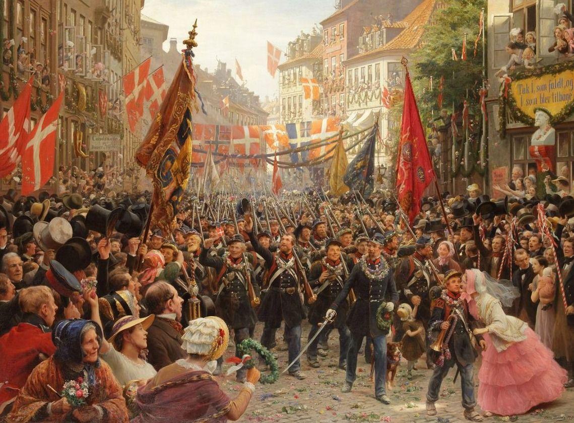 Eerste Deens-Duitse Oorlog - Deense soldaten keren terug naar Kopenhagen in 1849 -  Otto Bache