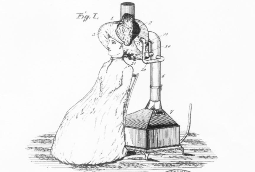 Afbeelding van de haardroger op de patentaanvraag van Alexandre-Ferdinand Godefroy