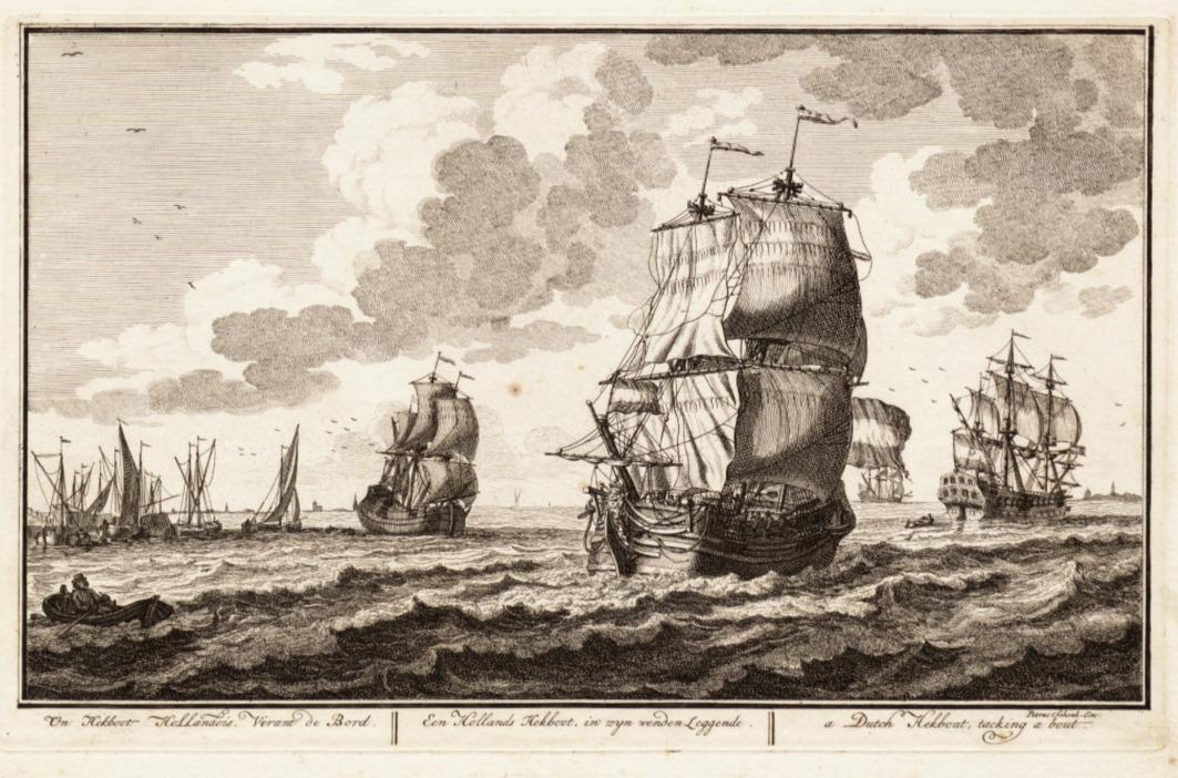Adolf van der Laan : Ets: een Hollandse hekboot , in zijn wenden Leggende
