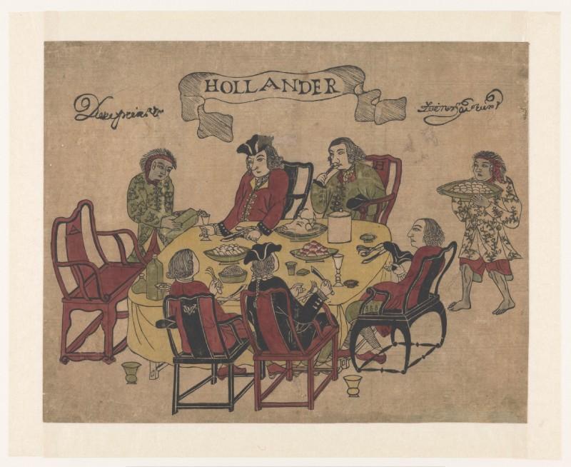 Vijf Hollanders aan de maaltijd op Deshima, links een Javaanse bediende die saké schenkt, rechts een Javaanse bediende met een schaal eieren. Anoniem, 1790-1810, Rijksmuseum NG-1978-110