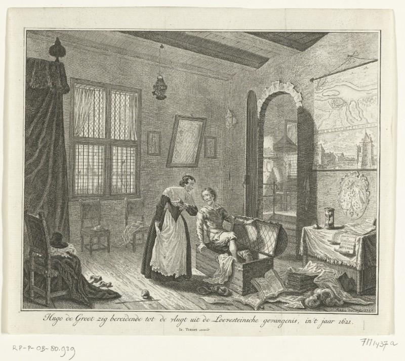 Hugo de Groot verstopt zich in de boekenkist, 1621, Simon Fokke, 1754. Bron: Rijksstudio Rijksmuseum