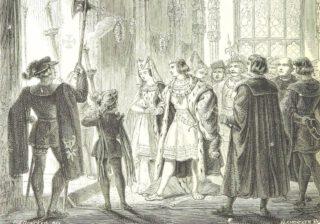 Huwelijk van Maximiliaan en Maria van Bourgondië, 1477 (19e-eeuwse afbeelding)