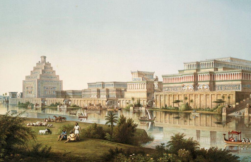 Artistieke impressie van het Assyrische paleis in Ninevé