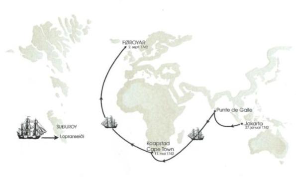 De laatste reis van de Westerbeek - Bron : Anker Eli Peterson, De schipbreuk van de Westebeek in 1742, Posta Faroe Islands