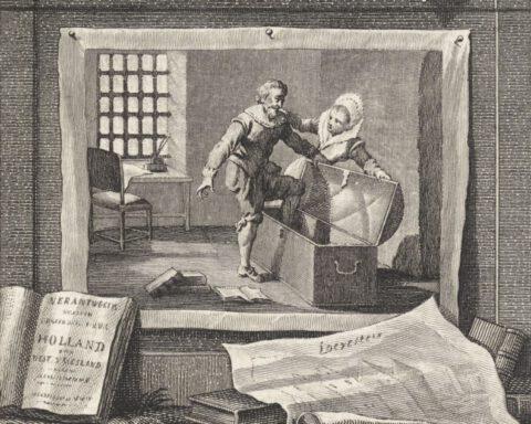Hugo de Groot stapt in de boekenkist, 1621, Reinier Vinkeles (I), naar Jacobus Buys, 1751 - 1799. (Bron: Rijksstudio Rijksmuseum)