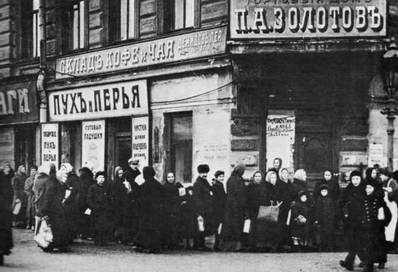 In de rij voor brood in Sint-Petersburg - Januari of februari 1917