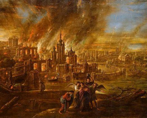 De vernietiging van Sodom en Gomorra - Jacob de Wet II, 1680