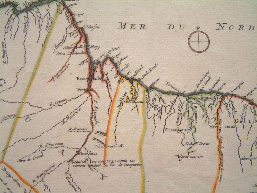 Suriname op een kaart uit 1700