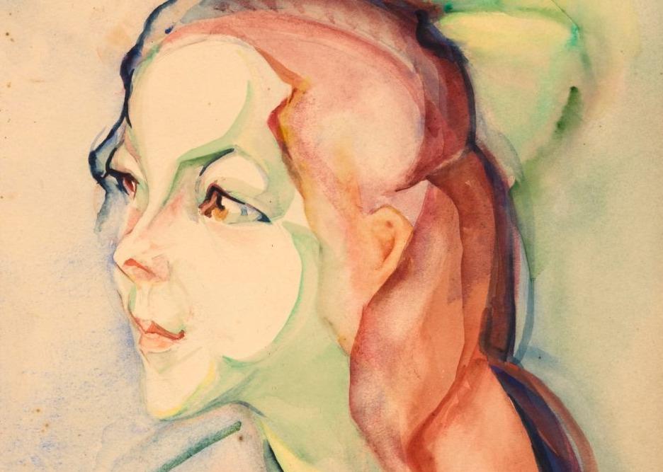 Meisje met rood lang haar en groene strik, detail - Alida Pott