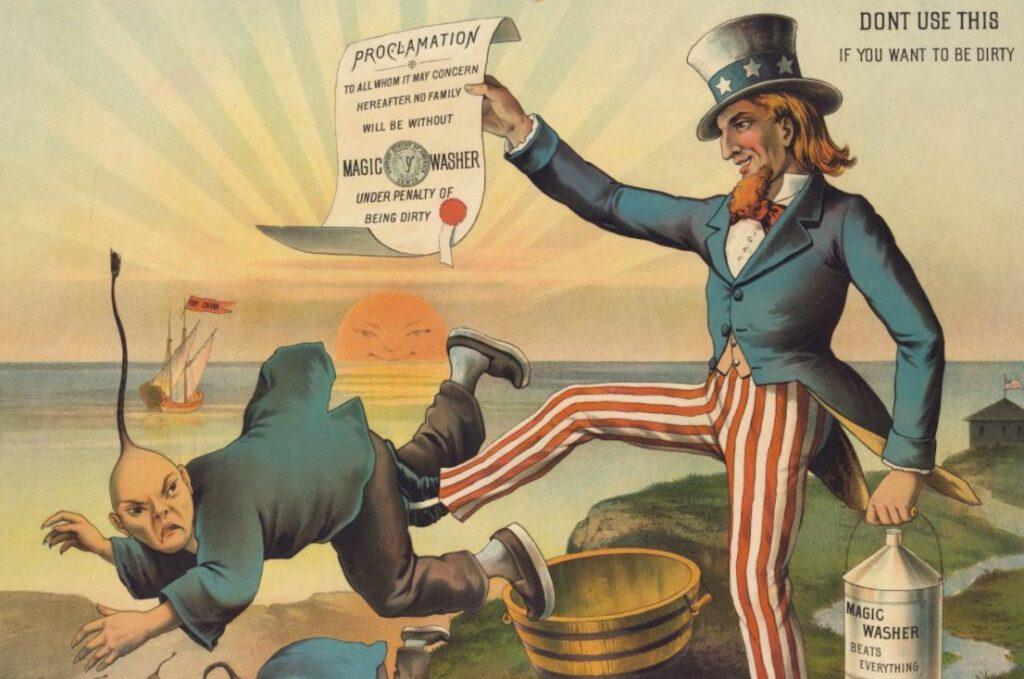 Chinese Exclusion Act - Cartoon uit 1886 met als ondertitel 'The Chinese Must Go'. Uncle Sam schopt de Chinezen het land uit