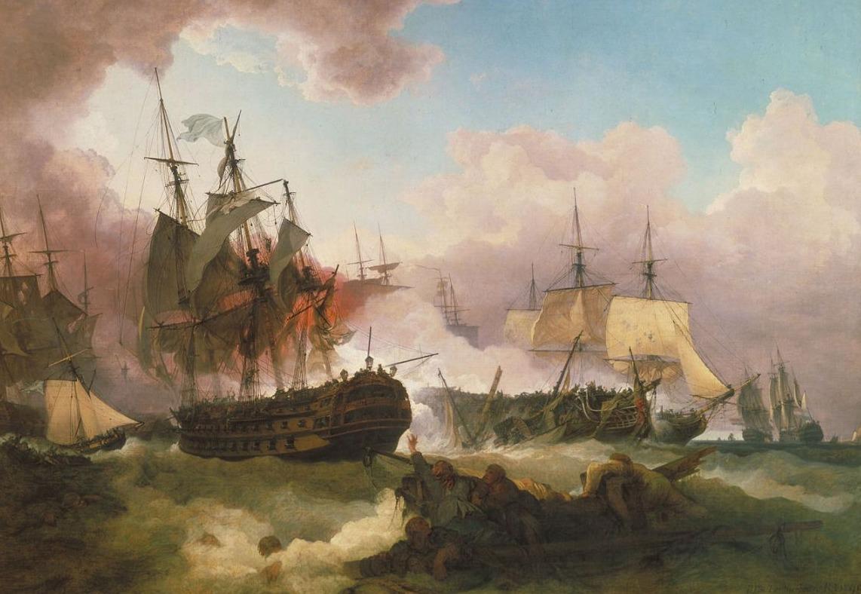 De Zeeslag van Camperduin. Schilderij van Philip De Loutherbourg.