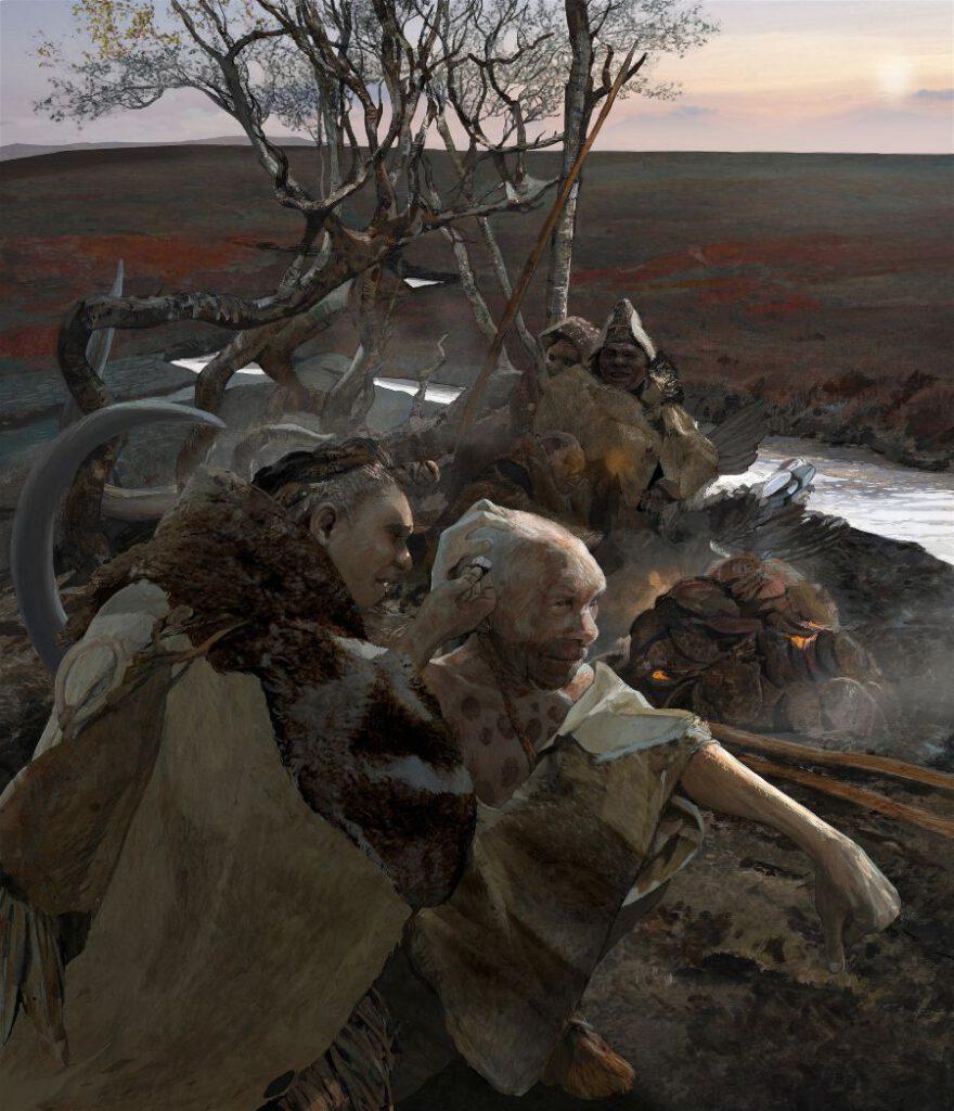 Doggerland-Neanderthalers   illustratie © Kelvin Wilson