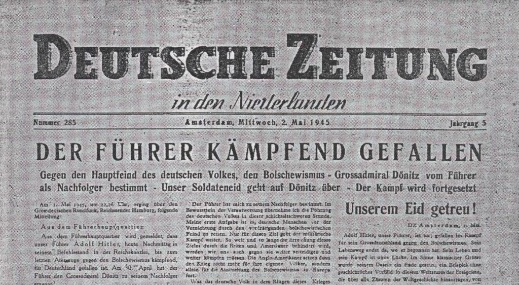 Duitstalig krantenbericht over de dood van Hitler: