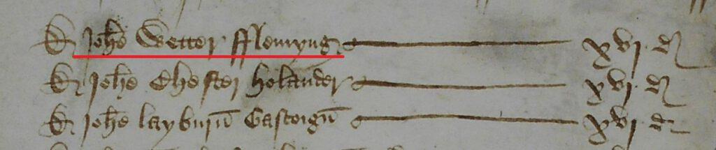 Een fragment van de Alien Subsidy-lijst voor de stad Lincoln in 1441. The National Archives, E 179/269/28, m. 2. Op de foto is de naam te zien van Jan Wetter, burgemeester van Lincoln, die als 'Fleming' ook de alien subsidy-belasting moest betalen.