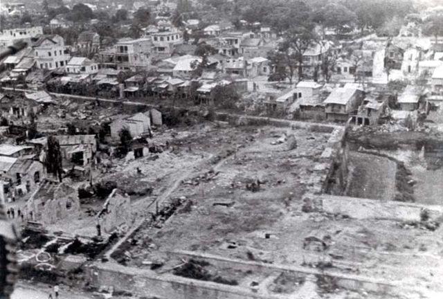 Ruïnes in Hue na het Tet-offensief