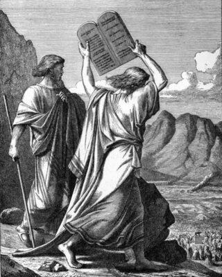 Mozes smijt de twee tafelen stuk