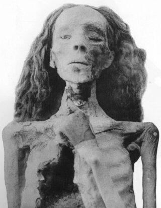 """De mummie van koningin Tiye, aanvankelijk bekend als """"The elder lady"""""""