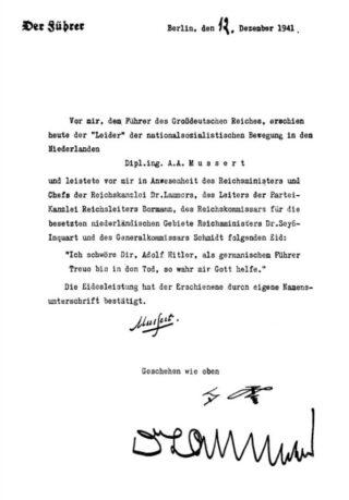 Mussert's eed van trouw aan Adolf Hitler, december 1941