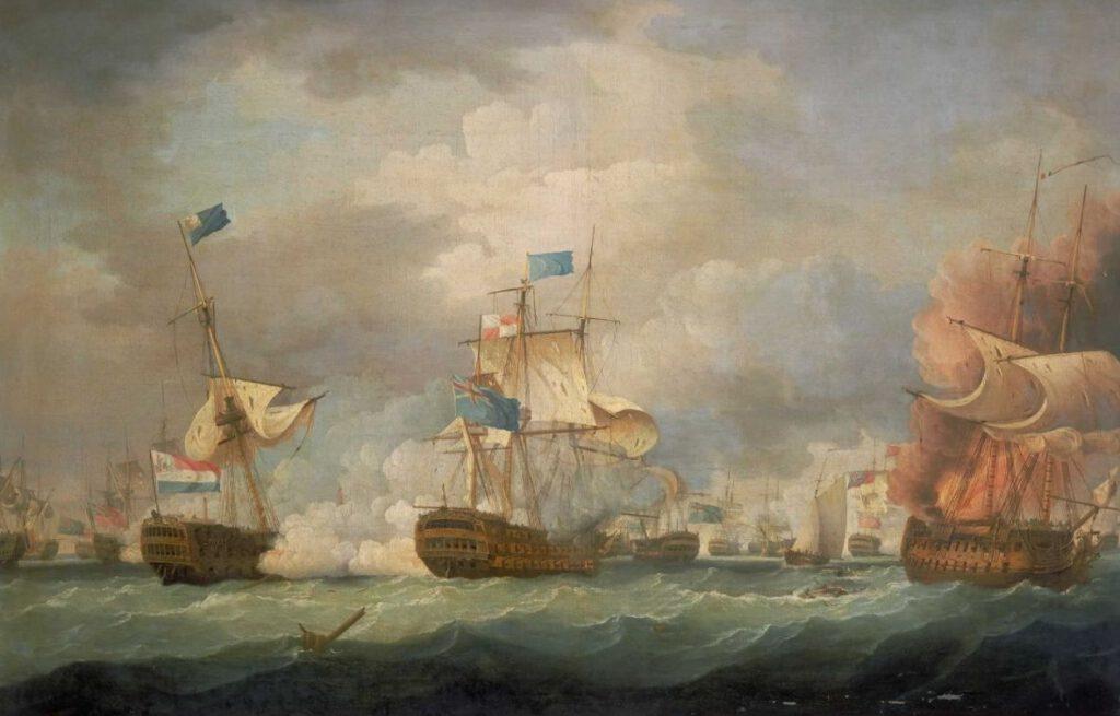 The Battle of Camperdown van Thomas Whitcombe, geschilderd in 1798.