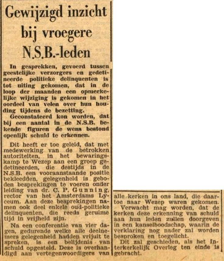 Bericht in Het Parool over de Verklaring van Wezep, 14 juni 1947
