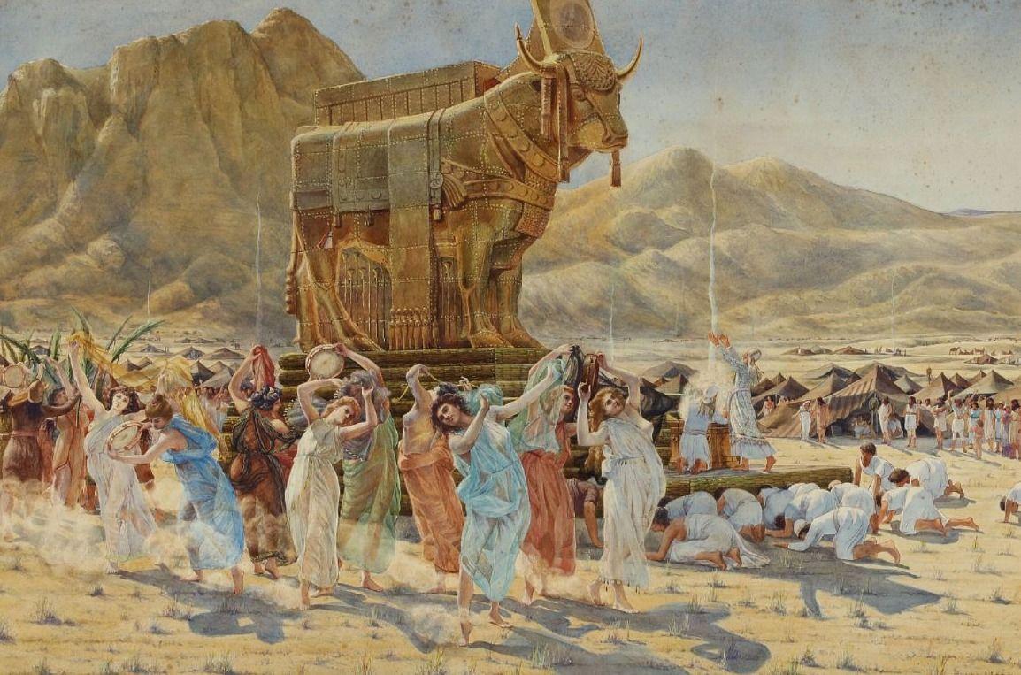 De Israëlieten dansen voor het gouden kalf - Henri-Paul Motte