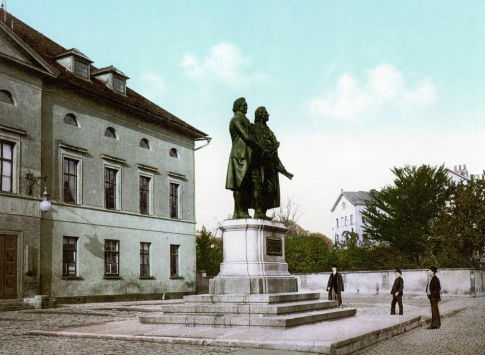 Goethe–Schiller monument in Weimar, ca. 1900