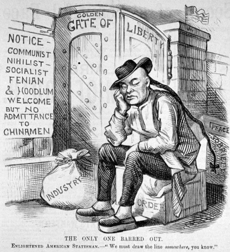 Politieke cartoon uit 1882 die een Chinees toont die de toegang tot Amerika wordt ontzegd