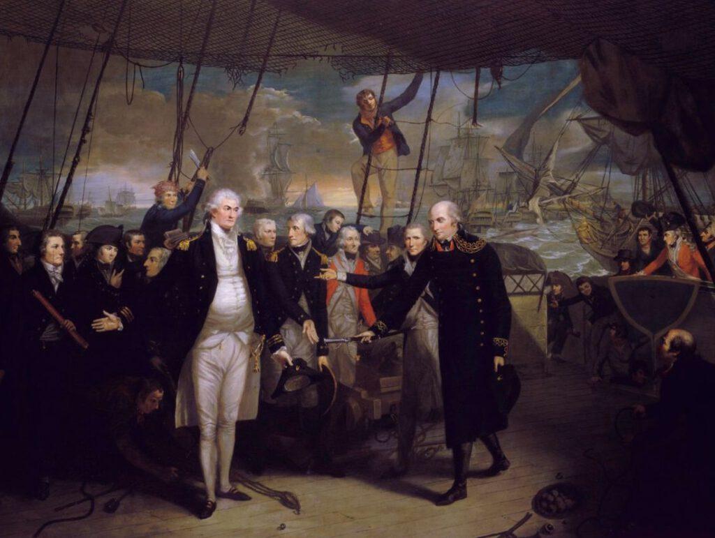 Jan De Winter presenteert zijn zwaard aan Adam Duncan als teken van overgave. Schilderij van Samuel Drummond.  National Maritime Museum, Greenwich, London, Greenwich Hospital Collection (ID: BHC0506)