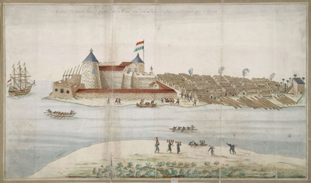 Fort Elmina door Gerard van Keulen, 17e eeuw. Nationaal Archief