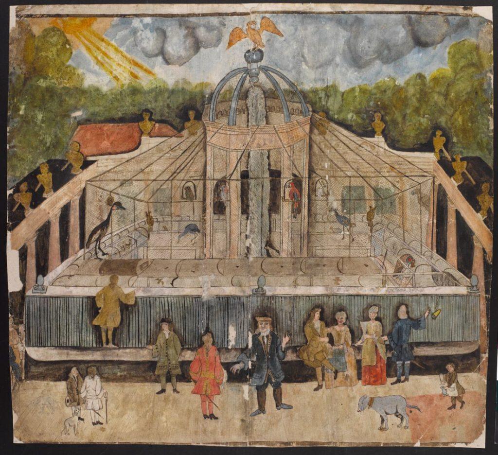 Binnentuin van de menagerie van Blauw Jan aan de Kloveniersburgwal,  ca. 1700