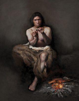 Neanderthaler met vuurstenen werktuig met berkenpek   illustratie © Tom Björklund/Moesgaard Museum, Denemarken