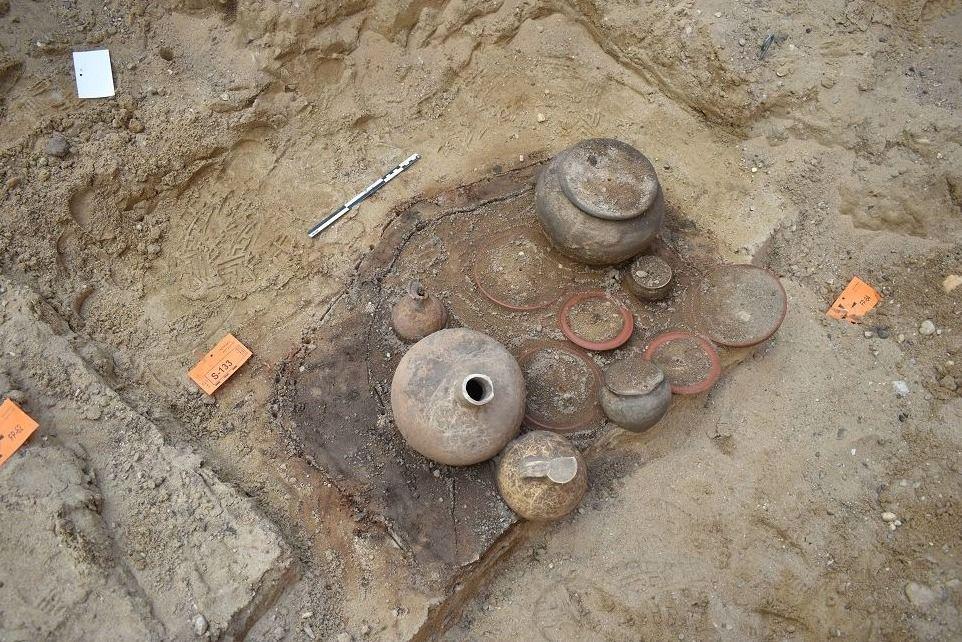 Opgraving van de Romeinse begraafplaats.