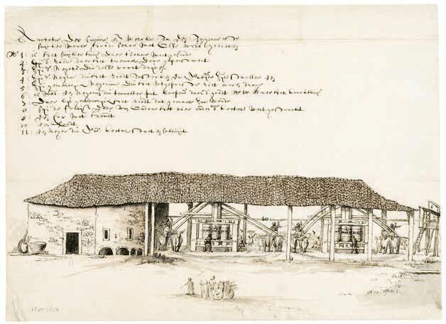 Suikermolen, aangedreven door ossen naar Frans Post, ca. 1640
