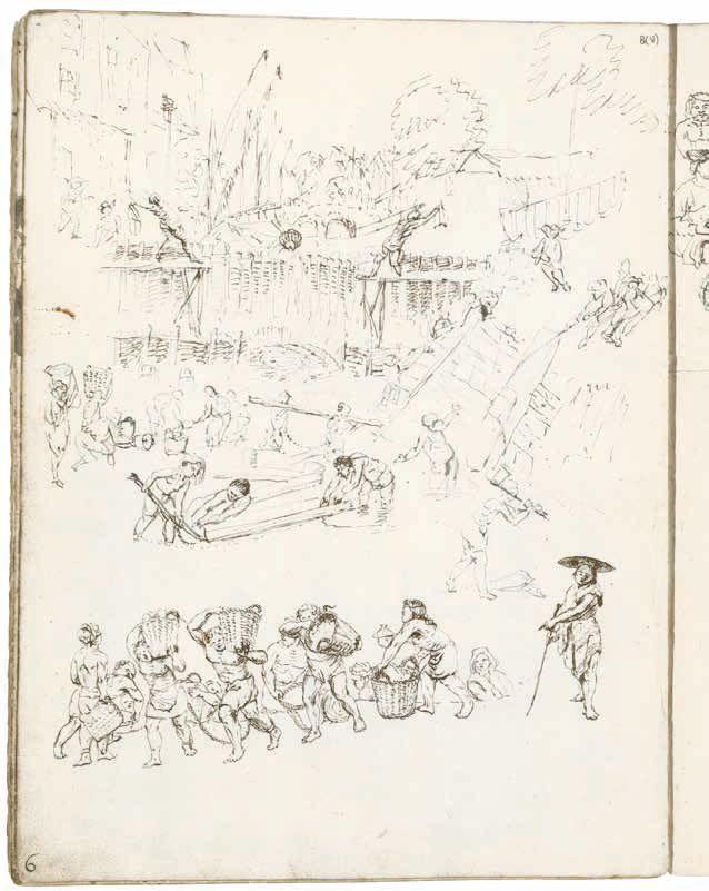 Bouwarbeiders in Batavia, een aantal van hen aan elkaar geketend Wouter Schouten, ca. 1660