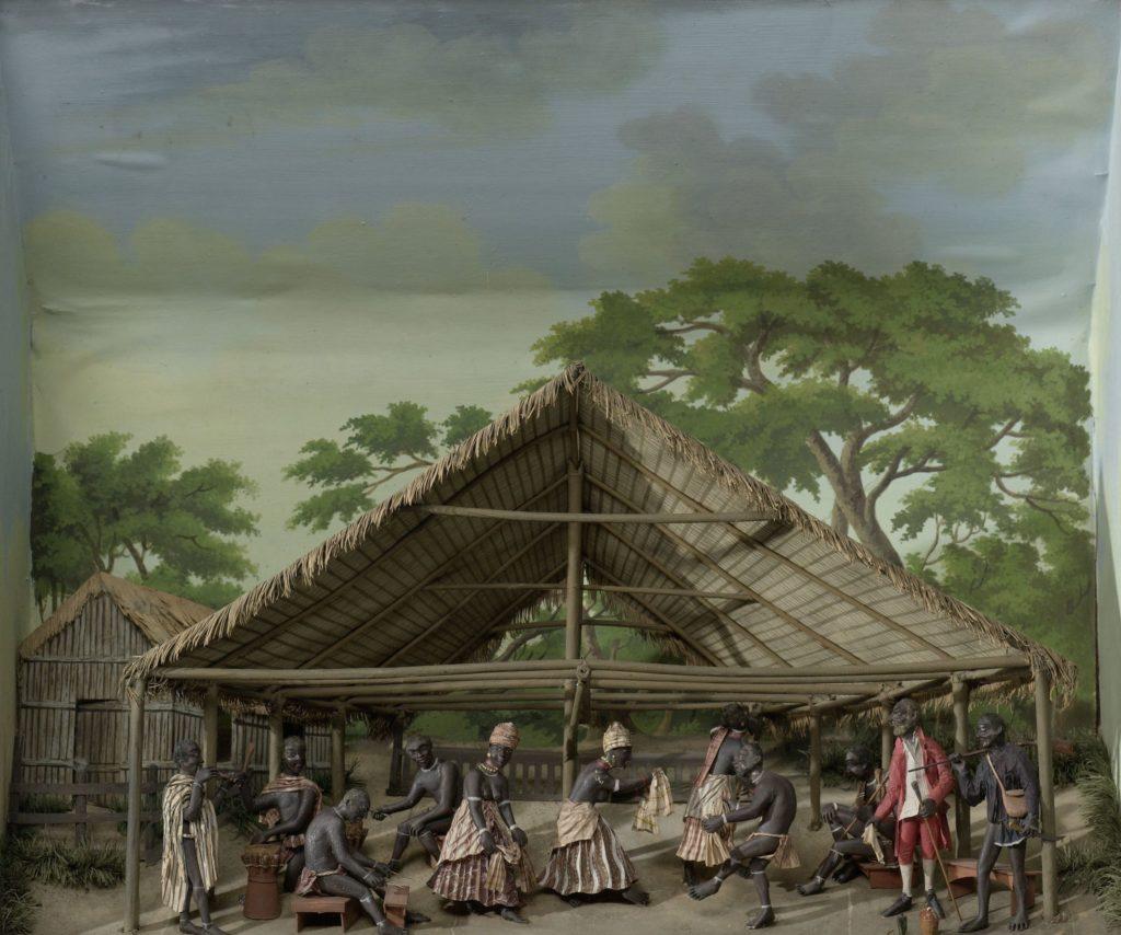 Diorama van een du, dansfeest op de plantage, Gerrit Schouten, 1830