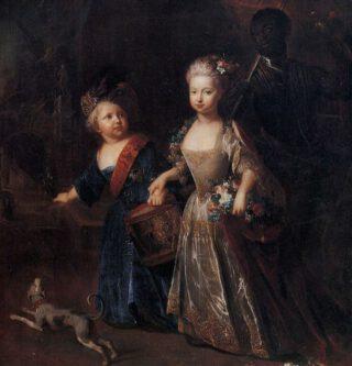 Frederik met zijn zus Wilhelmina, als kinderen, door Antoine Pesne, ca. 1715