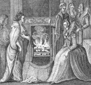 Grace O'Malley verschijnt voor koningin Elizabeth I. Afbeelding uit 1793