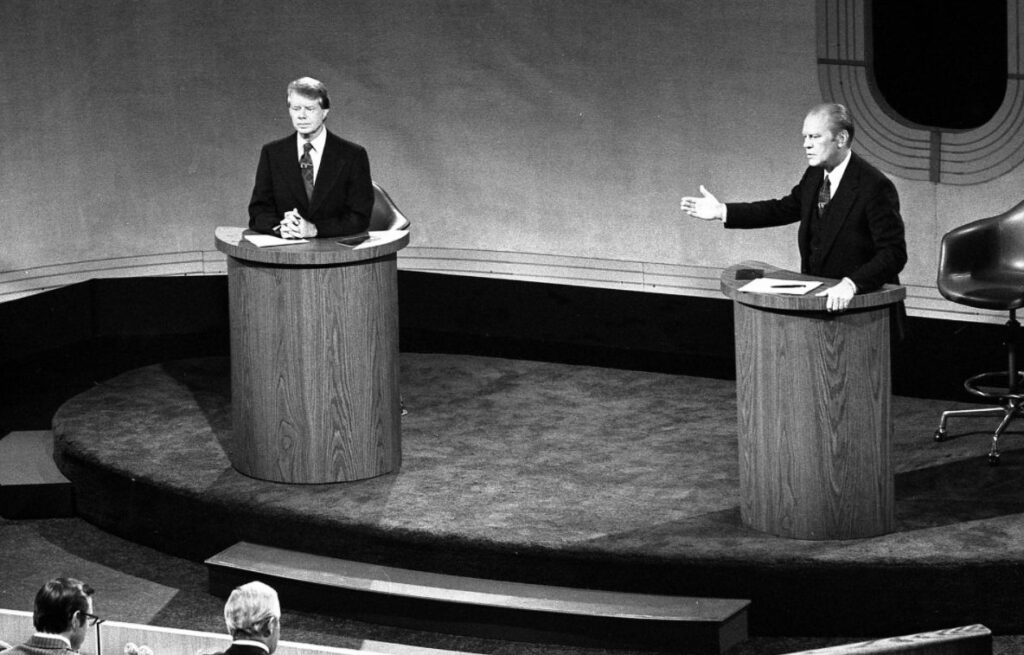 Presidentskandidaten Jimmy Carter en Gerald Ford in debat, september 1976