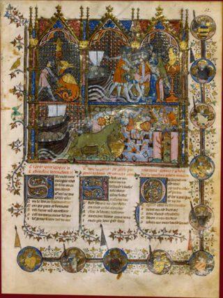 Miniatuur uit het veertiende-eeuwse manuscript van Le Roman de Troie