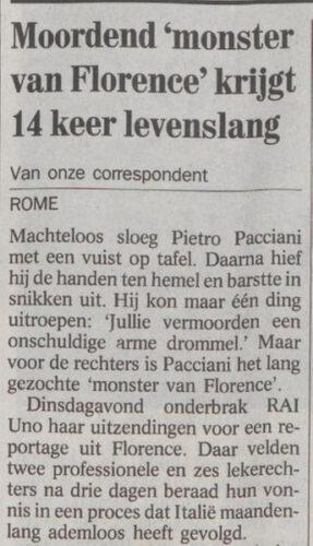 Bericht over de veroordeling van Pietro Pacciani - De Volkskrant, 02-11-1994