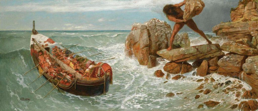 Polyphemos en Odysseus - Arnold Böcklin, 1896