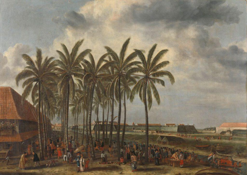 Andries Beeckman, de markt van Batavia met op de achtergrond de vesting van de Verenigde Oost-Indische Compagnie, ca. 1661, Rijksmuseum Amsterdam