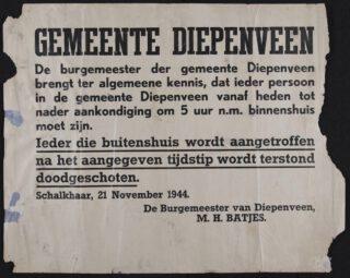 Sperrzeit - Kennisgeving in Diepenveen, 1944