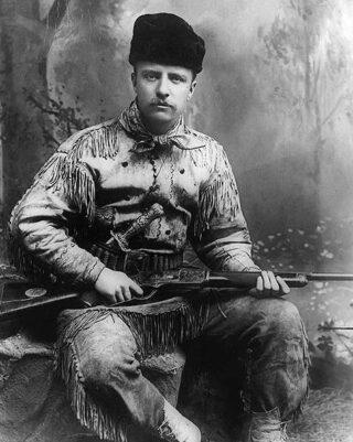 Theodore Roosevelt in jachtkleding, 1885