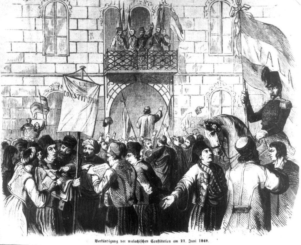 Revolutionairen kondigen een nieuwe grondwet af in Walachije, juni 1848