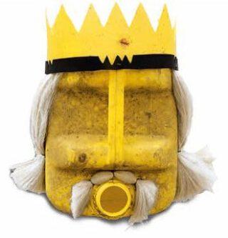 'Masker' dat een Europeaan in de tijd van de slavenhandel verbeeldt, gemaakt van een gele jerrycan. Onderdeel van de installatie La Bouche du Roi, Romuald Hazoumè, 1997–2005