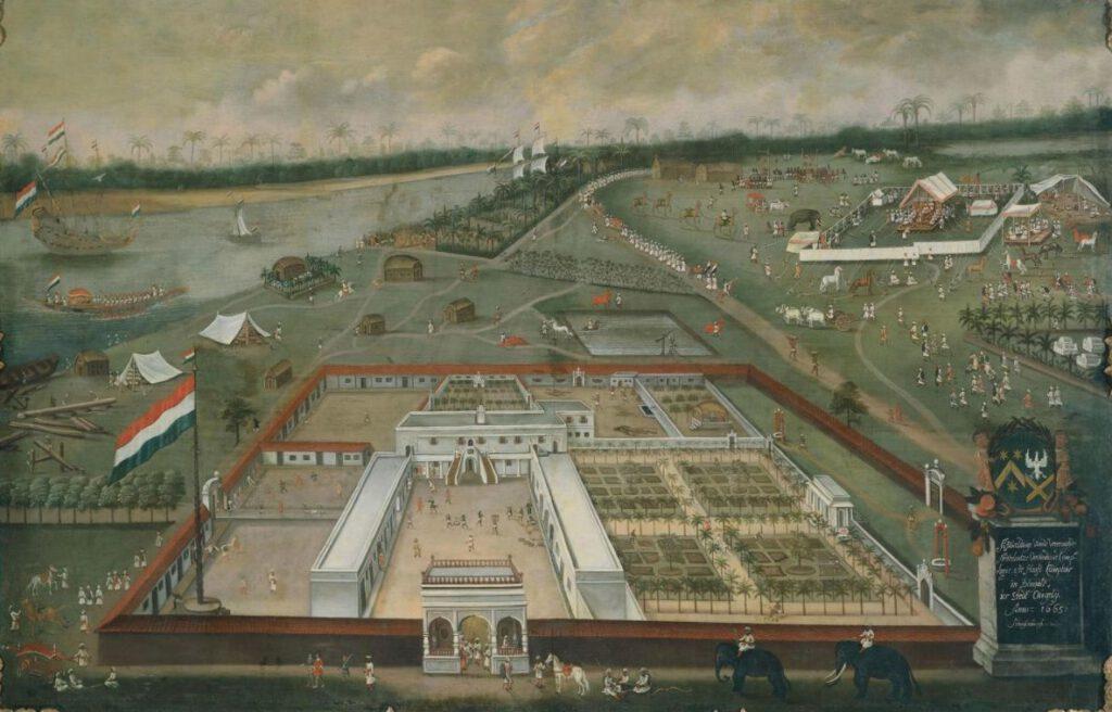 Het handelskantoor van de Verenigde Oost-Indische Compagnie in Hougly in Bengalen, Hendrik van Schuylenburgh, 1665